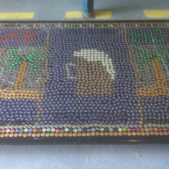 Coolest Beer Pong Table EVER!  Made from thousands of beer bottle caps.