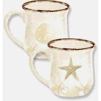 h2Sounds of the Sea Ceramic Mugs/h2br /br / Set of two assorted Sounds of the Sea ceramic mugs.  Drink coffee from a coastal mug with sand dollar or starfish accents.    From the Sounds of the Sea collection of coastal kitchenware.