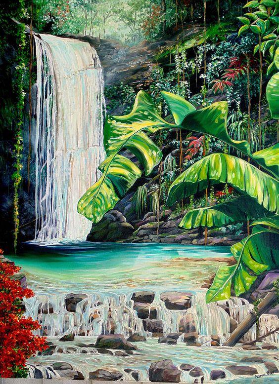 Rainforest Falls Trinidad.. Painting by Karin Kelshall - Best