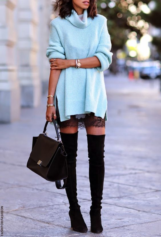 Chunky Sweater - Lace Slip - High Thigh Boots: