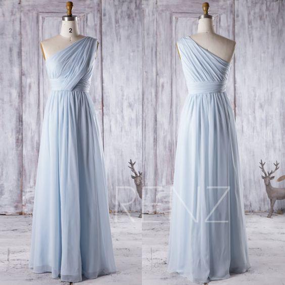 2016 Light Blue Bridesmaid Dress Long, One Shoulder Chiffon Maxi Dress, Ice Blue…