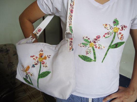Bolsa e Camiseta em Patch colagem, camiseta em malha super macia de Santa Catarina, bolsa estruturada com manta acrílica, fechamento é com zíper e bolso interno, aceitamos encomendas em outras cores. R$ 60,00