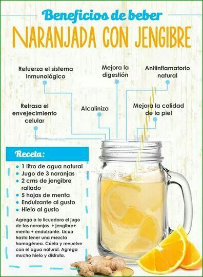 El agua de naranja con jengibre es ideal para la digestión.