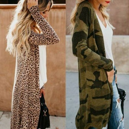 Women Loose Long Sleeve Cardigan Leopard Kimono Shawl Tops Blouse Coat Winter