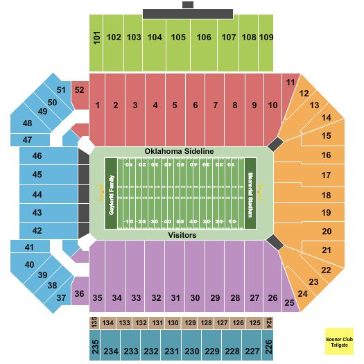 Oklahoma Memorial Stadium Interactive Seating Chart In 2020 Oklahoma Sooners Football Oklahoma Memorial Ou Sooners Football