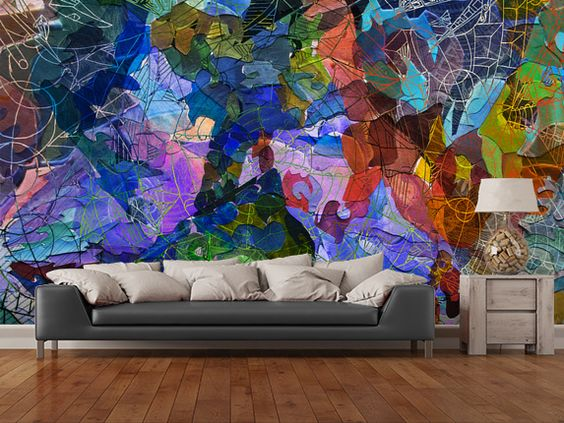 Abstract Blue wall mural room setting