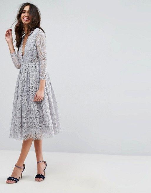 Asos Design Asos Long Sleeve Lace Midi Prom Dress Prom Midi Dress Asos Long Dresses White Long Sleeve Dress