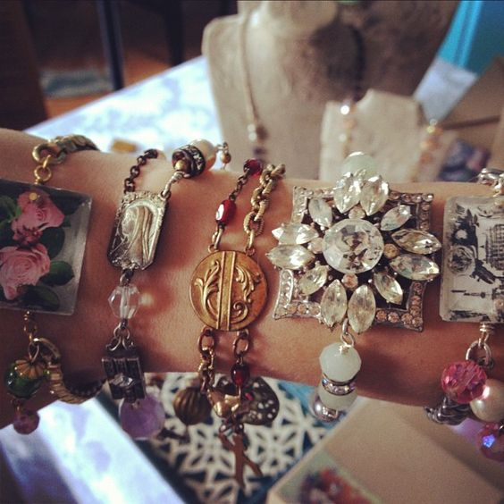 One-of-a-kind, handmade bracelets, assemled from vintage baubles. Vintage Traveler