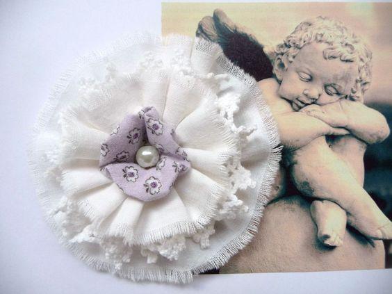 Shabby Blume Vintage Nostalgie Spitze Geburt Schulanfang Verzierung Handarbeit