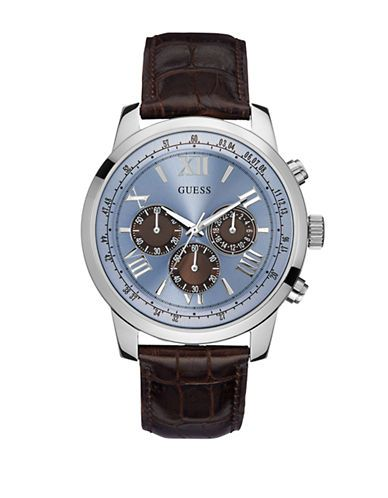 Guess Mens Classic Sport Steel Chronograph and Leather Strap Watch Men