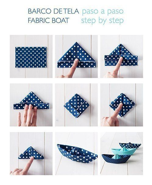 step by step napkin boat