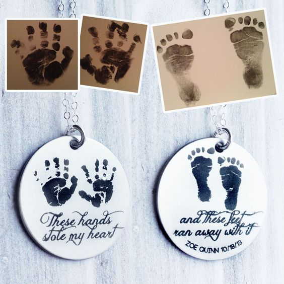 These Hands Stole My Heart Necklace with the Actual Prints of your Little One(s)