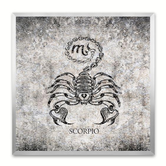 Scorpio Horoscope Black Canvas Print, Silver Custom Frame