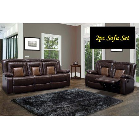 Chocolate Brown Double Recliner Sofa Love Seat Faux Leather Brookshire 2pc Set Living Room Dual Tone Couch Modern Reclining Couch Reclinin Sofa And Loveseat Set