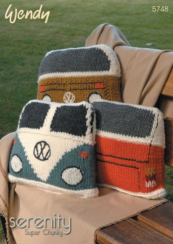 Volkswagen Camper Van Cushions Knitting Pattern - find the pattern on LoveKnitting!