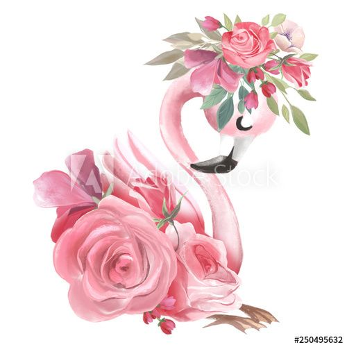 Cute Dreaming Girl Baby Pink Flamingo With Flowers Floral Wreath In 2020 Flamingo Painting Flamingo Art Flamingo Wallpaper