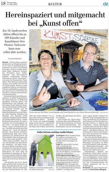 Hereinspaziert und mitgemacht bei – Kunst Offen mit Anna Zasulsky und Frank Koebsch- Ostsee Zeitung  - mehr Informationen unter http://frankkoebsch.wordpress.com/2013/05/11/einladung-zu-kunst-offen-2013/