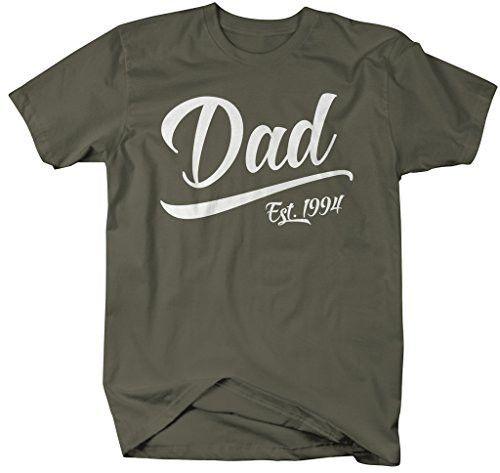 Shirts By Sarah Men's Dad Est. 1994 T-Shirt Fathers Day Shirts