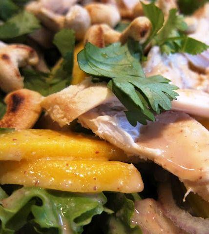 Thai Mango Chicken Salad with Creamy Peanut Dressing.