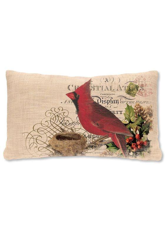 Winter Garden Cardinal Lumbar Pillow