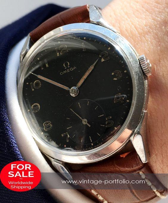 Original Omega Handaufzugs Uhr mit schwarzem Ziffernblatt - 36mm Oversize