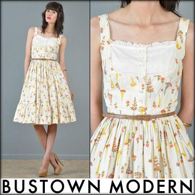 Vintage umbrella print summer dress