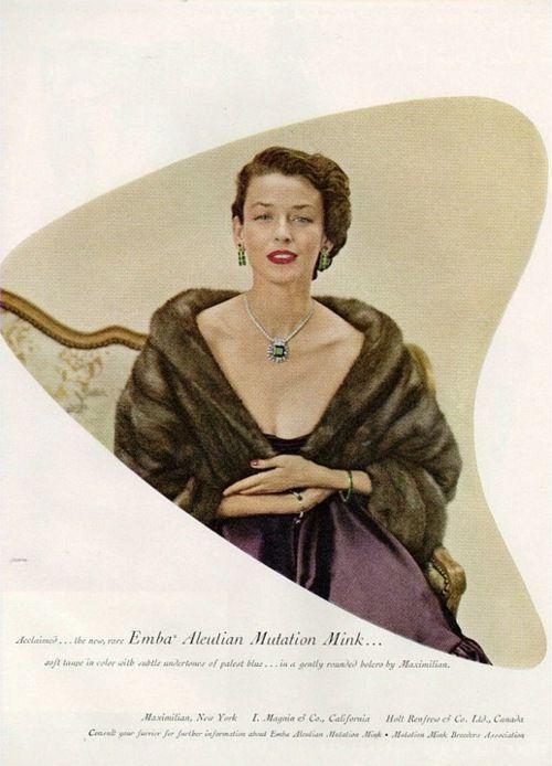 theniftyfifties:    Emba Mink stole advertisement, 1950s.