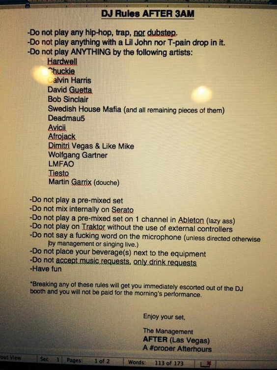 DJ Rules After 3AM