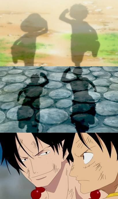 One Piece anime_ Monkey D. Luffy, Portgas D. Ace, brothers for all time.