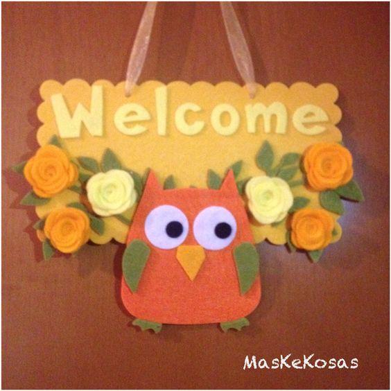 Targhetta in pannolenci e feltro con la scritta Welcome e gufo portafortuna fatto a mano #maskekosas