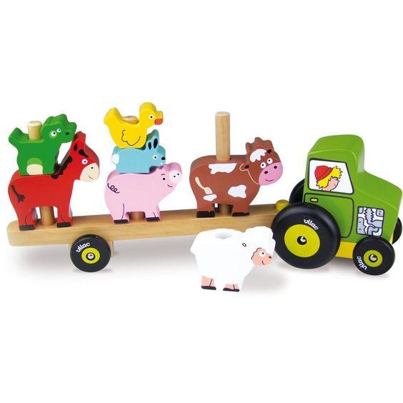 Dřevěná hračka Vilac - Traktor se zvířátky - nasazování alt=