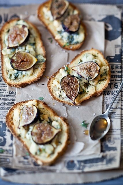 Fig, Gorgonzola & Honey Tartines. This is so me that I had to check to see whether I had already pinned it...