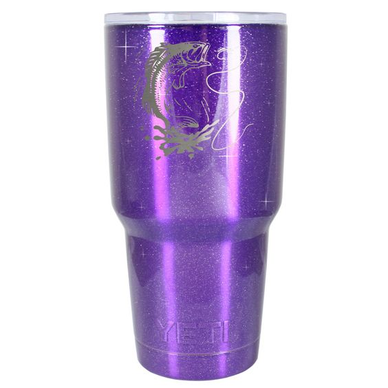 YETI 30 oz Tumbler Bass Engraved on Purple Glitter