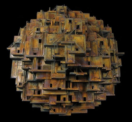 "Jud Turner ~ ""Hive"" (middle class colony collapse) (2014) mixed media assemblage sculpture 30 x 30 x 14 in. 