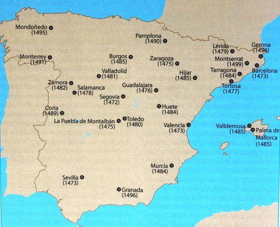Mapa provisional que muestra las localidades conocidas que tuvieron imprenta incunable