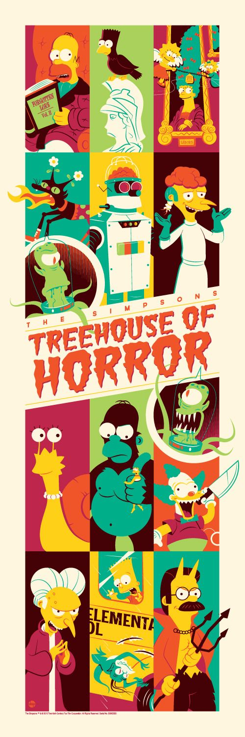 Check out this very cool tribute poster for The Simpsons: Treehouse of Terror. It was created by Dave Perillo for ACME Archives, and it features several elements from some of our favorite Treehouse of Terror episodes. What is your favorite Simpsons Halloween special?   It's a 12 x 36 inch print in an edition of 250 and will be released November 13th on www.darkinkart.com. Follow @Acme Simpson Archives for more information.