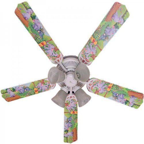 """Ceiling Fan Designers Ceiling Fan, Winnie Pooh Heffalump Lumpy Eeyore, 52"""". Includes Light Kit. 3 Speed Fan. Recommended Wattage: 273. Forward And Reverse Functions."""