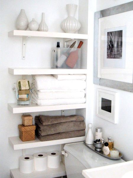 storage solution for a small bathroom.