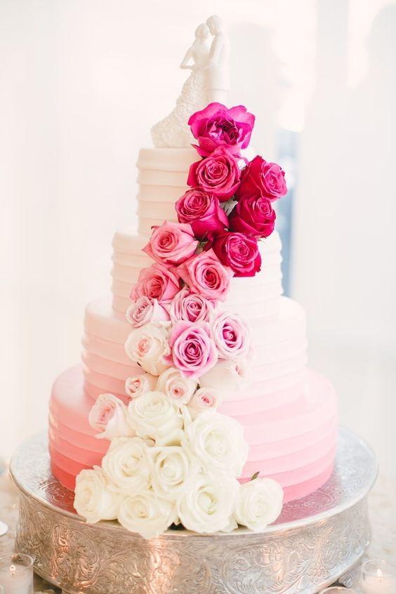 Glamorous pink wedding cake; Featured Photographer: Mi Belle Photographers