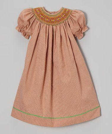 Another great find on #zulily! Dark Orange Geometric Bishop Dress - Infant, Toddler & Girls #zulilyfinds
