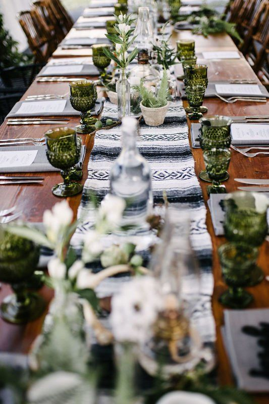 Boho Wedding Reception Tables Green Glasses Succulent Centerpieces Colorful Table Runner Clover Eve Green Themed Wedding Green Wedding Wedding Glassware