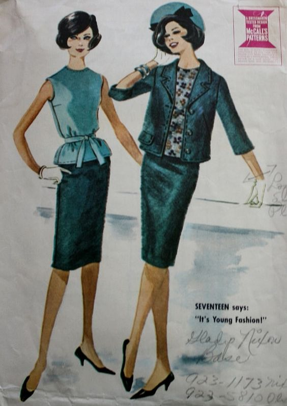 1960s Sewing Pattern Mad Men Jacket Overblouse Three Gore Skirt McCalls 5936 Bust 38