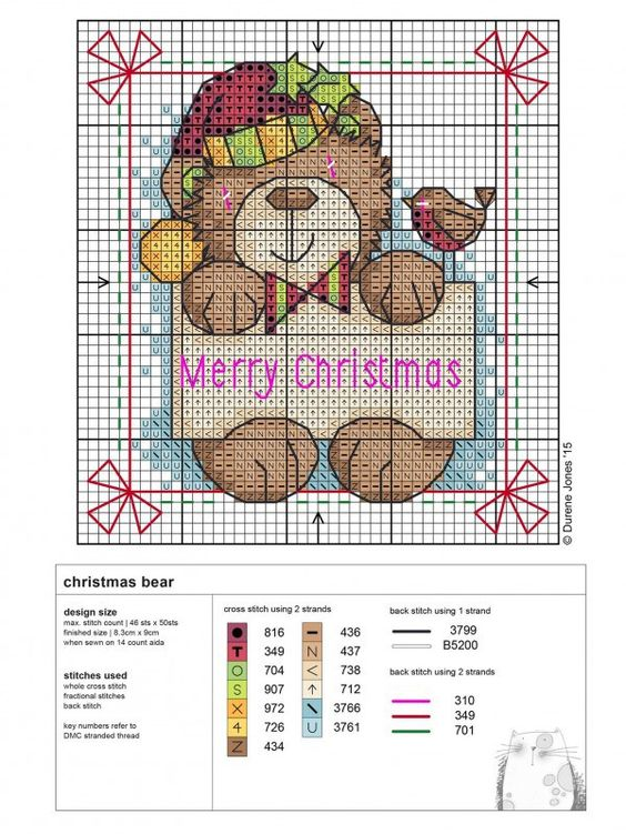 Durene Jones has yet again provided us with another amazing and might add free Cross stitch chart. This chart is for a Christmas bear holding a little Christmas sign. You can download the chart by …