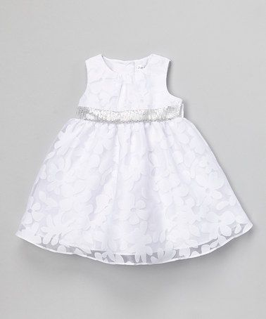 Another great find on #zulily! White Floral Sequin Organza Dress - Infant #zulilyfinds