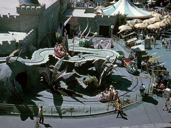 Disney dreamt up Fantasyland, pictured in the 1960s, as a fairy tale town inspired by Sleeping Beauty's castle in the animated movie. It was his favorite land in the park.