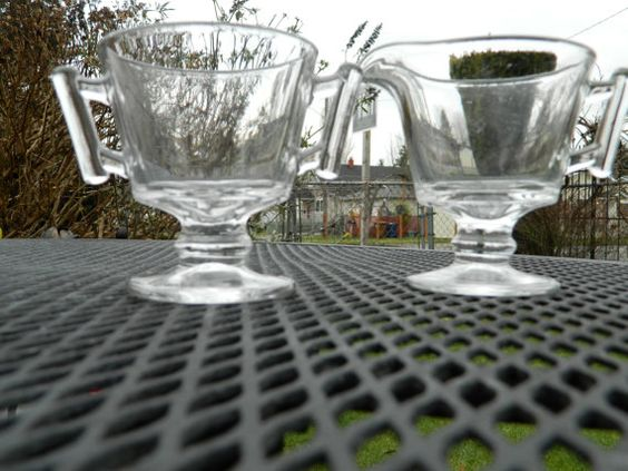 Clear Glass Creamer and Sugar set with cool by QuirkyCrowsVintage, $22.00