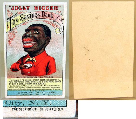 """""""Jolly Nigger"""" Toy mechanical savings bank, 1890s.  Racist Themes"""