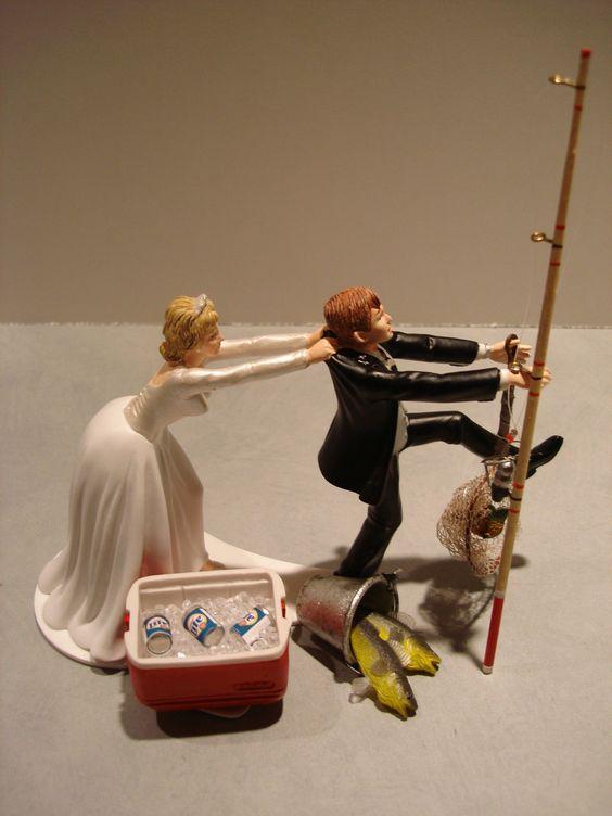 Fishing Wedding Cake Toppers | Fish Fishing Wedding Cake Topper Red Cooler Ice Lite Beer Pole Lantern ...