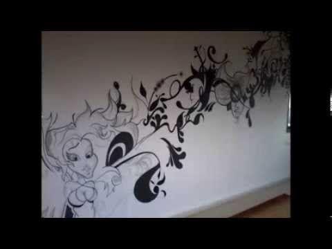 103 رسومات جداريه جديده Wall Graffiti New Youtube Home Decor Decals Decor Home Decor