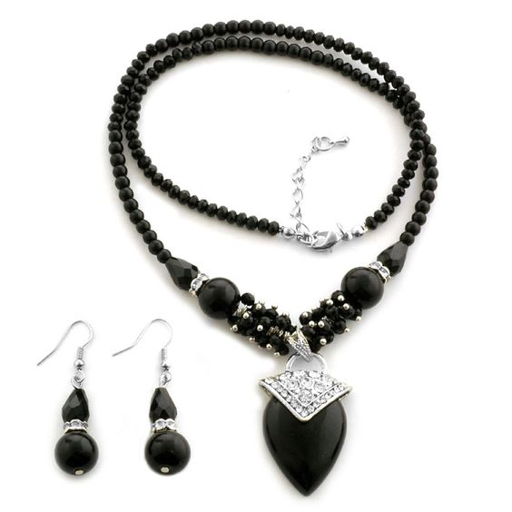 Black Onyx, Black Glass, White Austrian Crystal Earrings and Necklace (20 in) in Stainless Steel TGW 80.00 cts.